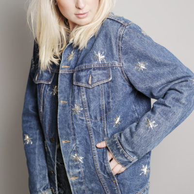 BLA CUSTOMIZED VINTAGE DENIM JACKET WITH BUGLE BEADS €149,95