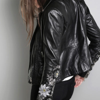 BLA CUSTOMIZED VINTAGE LEATHER JACKET FLOWER SLEEVE €249,95